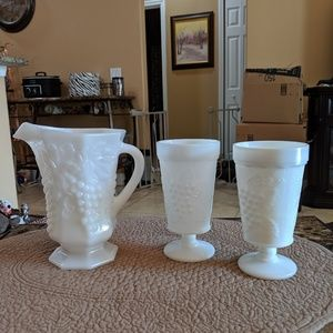 Indiana milk glass pitcher and glasses